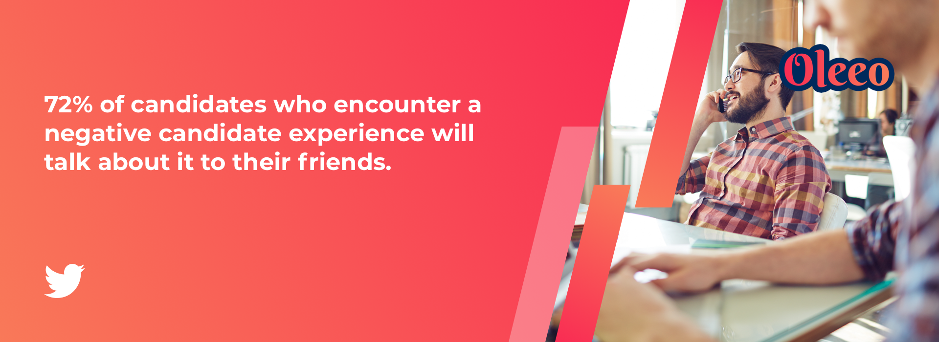 72% of candidates who encounter a negative candidate experience will talk about it to their friends.