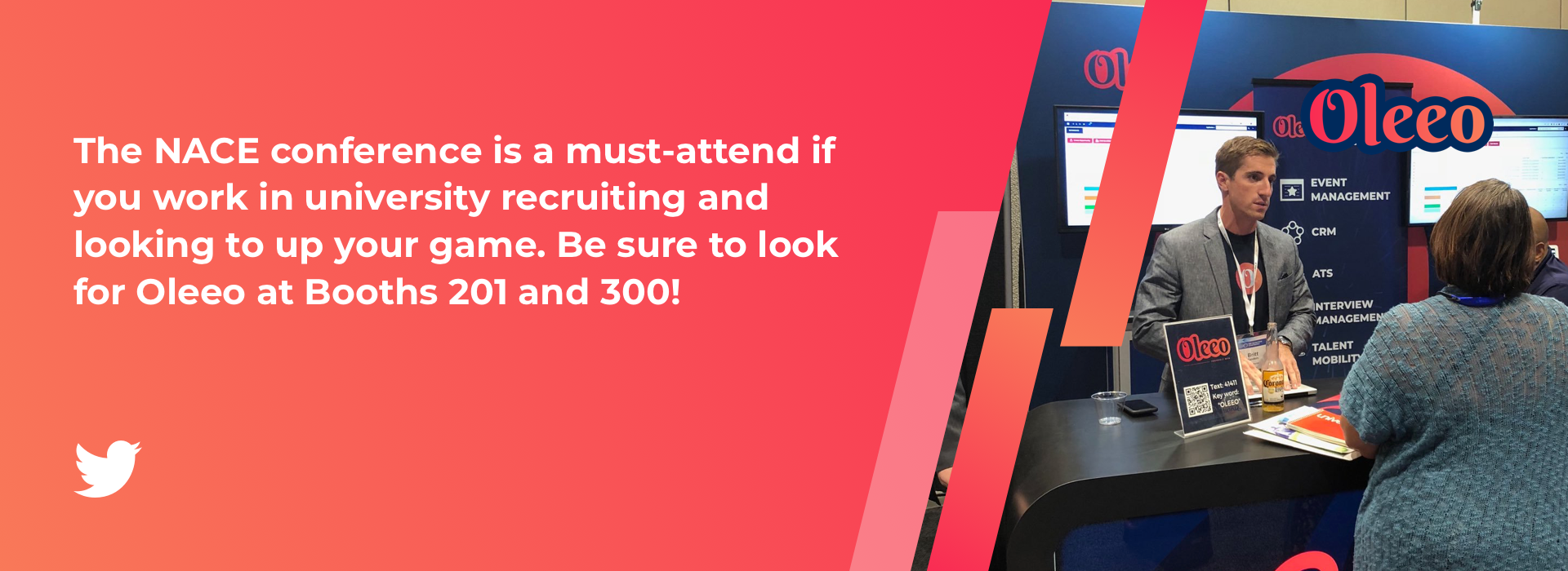 The NACE conference is a must-attend if you work in university recruiting and looking to up your game. Be sure to look for Oleeo at Booths 201 and 300!